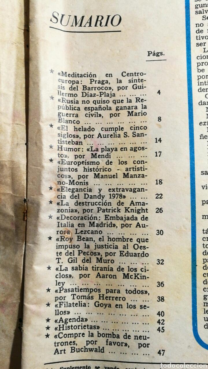 Coleccionismo de Los Domingos de ABC: LOS DOMINGOS DE ABC. 6 DE AGOSTO DE 1978. PRAGA, EL DANDY 1978, ROY BEAN, FILATELIA GOYA. - Foto 2 - 69414049