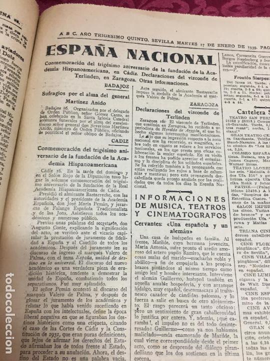 Collection Los Domingos de ABC: PERIODICO ABC 17 ENERO DE 1939 - FRANCO ARTIFICE DE LA RECONQUISTA DE ESPAÑA - Foto 7 - 122974895