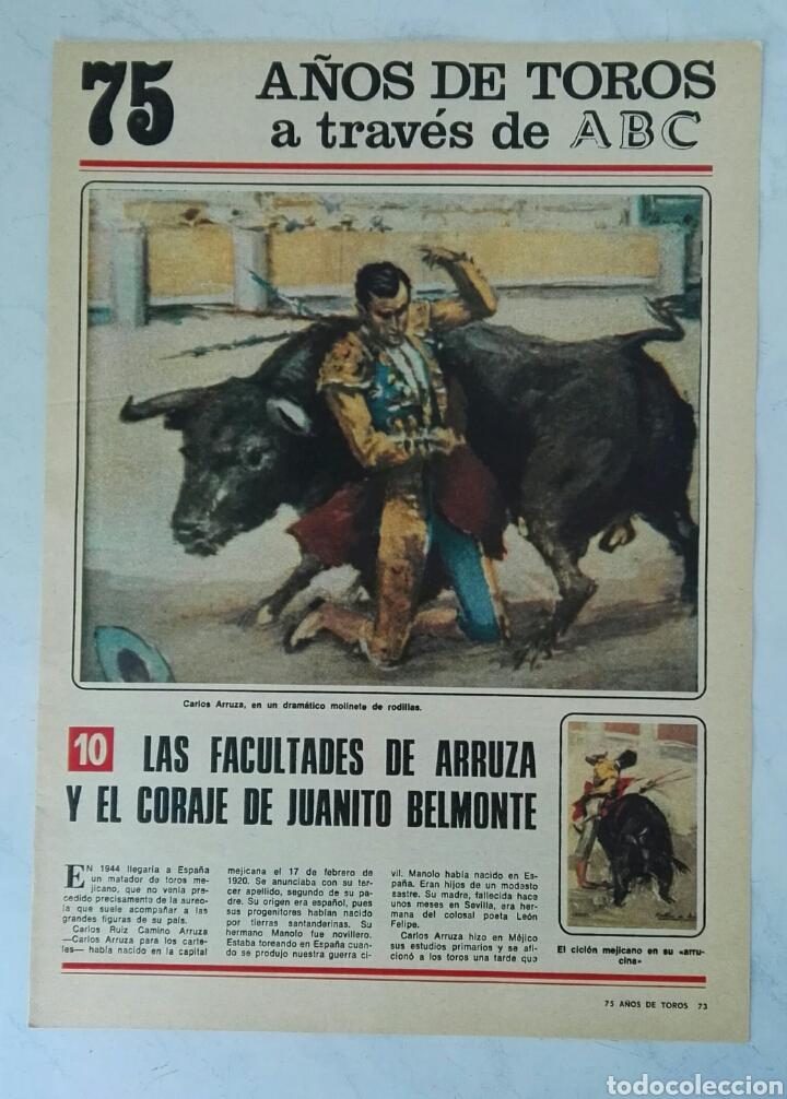 75 AÑOS DE TOROS A TRAVÉS DE ABC N° 10 FASCÍCULO ARRUZA BELMONTE (Coleccionismo - Revistas y Periódicos Modernos (a partir de 1.940) - Los Domingos de ABC)