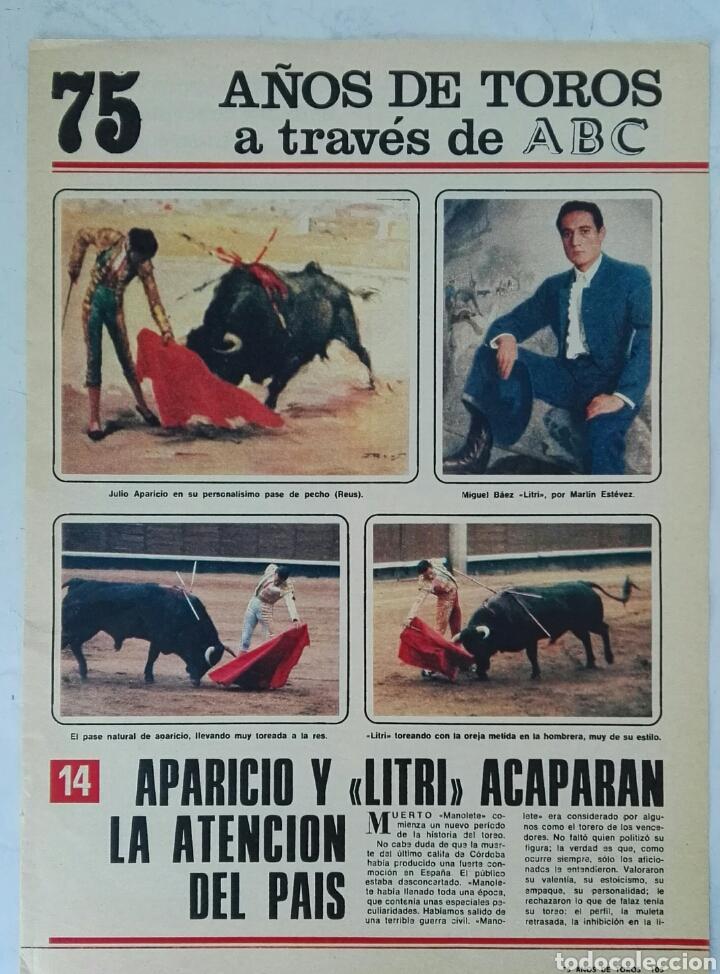 75 AÑOS DE TOROS A TRAVÉS DE ABC N° 14 FASCÍCULO APARICIO LITRI (Coleccionismo - Revistas y Periódicos Modernos (a partir de 1.940) - Los Domingos de ABC)