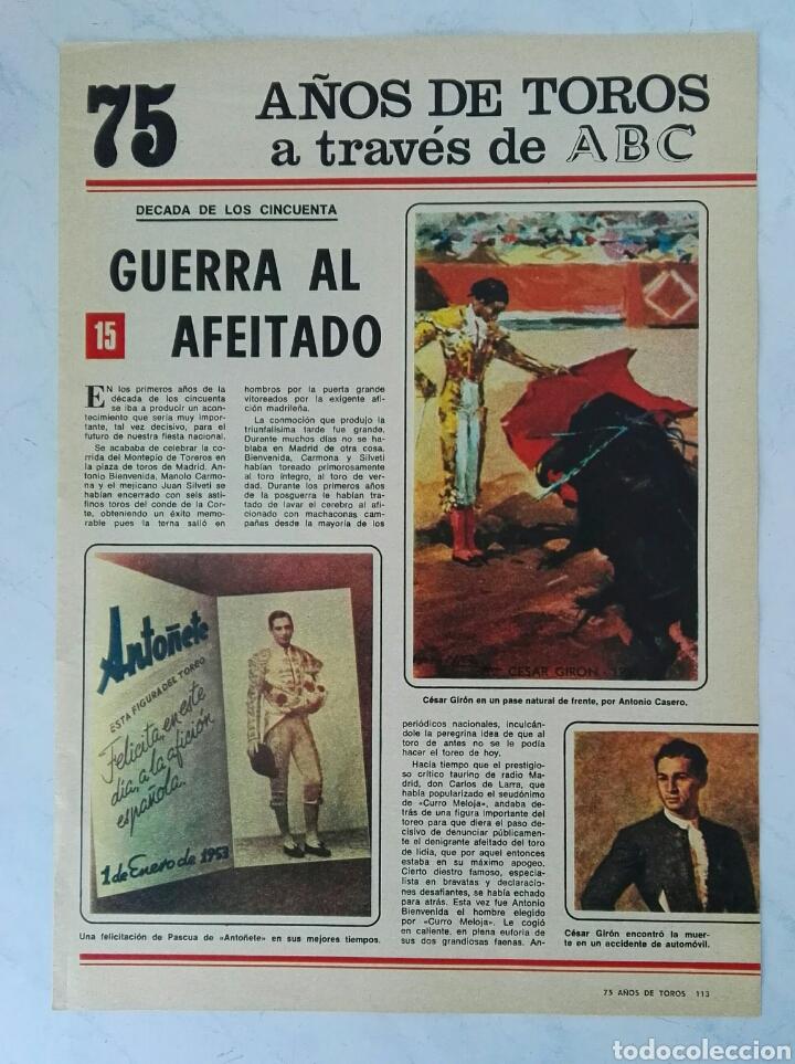 75 AÑOS DE TOROS A TRAVÉS DE ABC N° 15 FASCÍCULO (Coleccionismo - Revistas y Periódicos Modernos (a partir de 1.940) - Los Domingos de ABC)