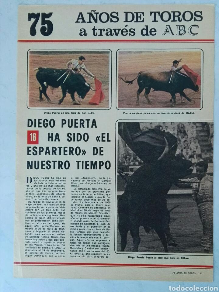 75 AÑOS DE TOROS A TRAVÉS DE ABC N° 16 FASCÍCULO DIEGO PUERTA (Coleccionismo - Revistas y Periódicos Modernos (a partir de 1.940) - Los Domingos de ABC)