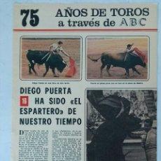 Coleccionismo de Los Domingos de ABC: 75 AÑOS DE TOROS A TRAVÉS DE ABC N° 16 FASCÍCULO DIEGO PUERTA. Lote 125382639