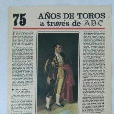 Coleccionismo de Los Domingos de ABC: 75 AÑOS DE TOROS A TRAVÉS DE ABC N° 5 FASCÍCULO JUAN BELMONTE. Lote 125383183