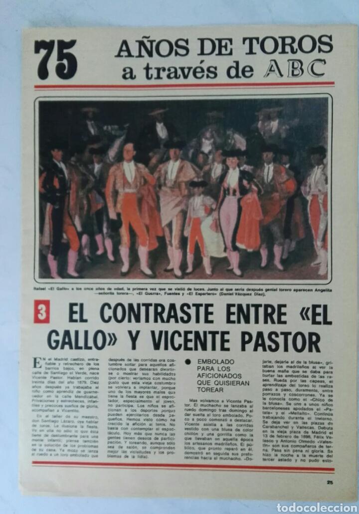 75 AÑOS DE TOROS A TRAVÉS DE ABC N° 3 FASCÍCULO EL GALLO VICENTE PASTOR (Coleccionismo - Revistas y Periódicos Modernos (a partir de 1.940) - Los Domingos de ABC)