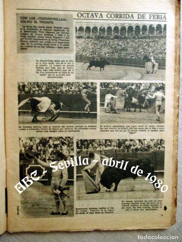 Coleccionismo de Los Domingos de ABC: ABC. 27 ABRIL 1980. CORRIDA FERIA ABRIL. ADOLFO SUAREZ,TRANCISIÓN, GENTE CONOCIDA TOROS. - Foto 3 - 131186132