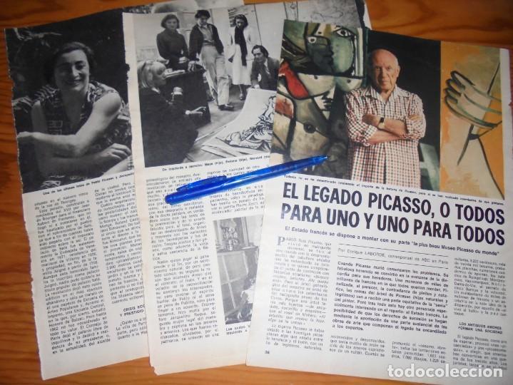 RECORTE PRENSA : EL LEGADO DE PICASSO. DOMINGOS ABC, JULIO 1977 (Coleccionismo - Revistas y Periódicos Modernos (a partir de 1.940) - Los Domingos de ABC)