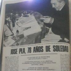 Coleccionismo de Los Domingos de ABC: ENTREVISTA A JOSEP PLA ,78 AÑOS DE SOLEDAD . 4 PAGINAS .AÑO 1975. Lote 194529533