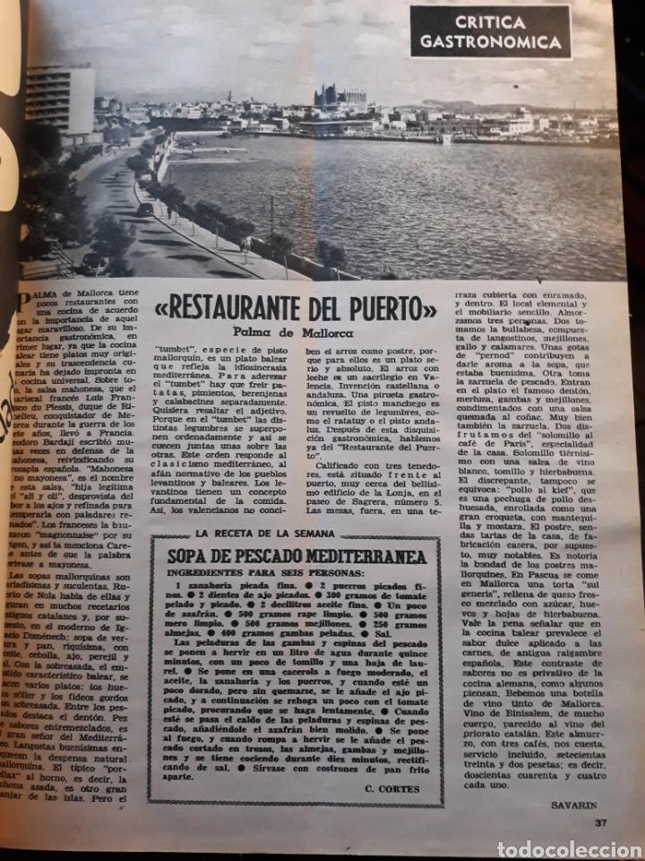 RESTAURANTE DEL PUERTO PALMA DE MALLORCA . CRITICA GASTRONÓMICA AÑO 1970. HOJA .POR SAVARIN (Coleccionismo - Revistas y Periódicos Modernos (a partir de 1.940) - Los Domingos de ABC)