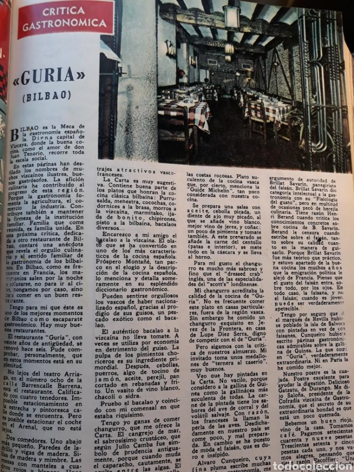RESTAURANTE GURIA , BILBAO . CRÍTICA GASTRONÓMICA. SAVARIN .PAGINA AÑO 1970 (Coleccionismo - Revistas y Periódicos Modernos (a partir de 1.940) - Los Domingos de ABC)