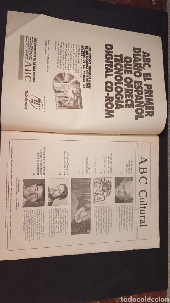 Coleccionismo de Los Domingos de ABC: ABC CULTURAL. NUMERO 120. 18 DE FEBRERO 1994. Willem de Kooning, escritor Milan Kundera - Foto 2 - 198112866