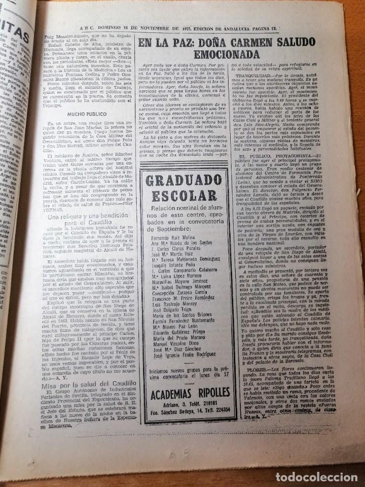Coleccionismo de Los Domingos de ABC: PERIÓDICO ABC ENFERMEDAD DE FRANCO. DOMINGO 16 NOVIEMBRE 1975. CARMEN POLO. - Foto 5 - 219361608