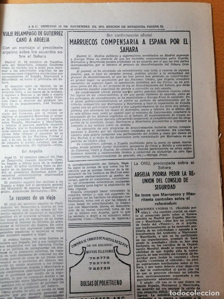 Coleccionismo de Los Domingos de ABC: PERIÓDICO ABC ENFERMEDAD DE FRANCO. DOMINGO 16 NOVIEMBRE 1975. CARMEN POLO. - Foto 6 - 219361608