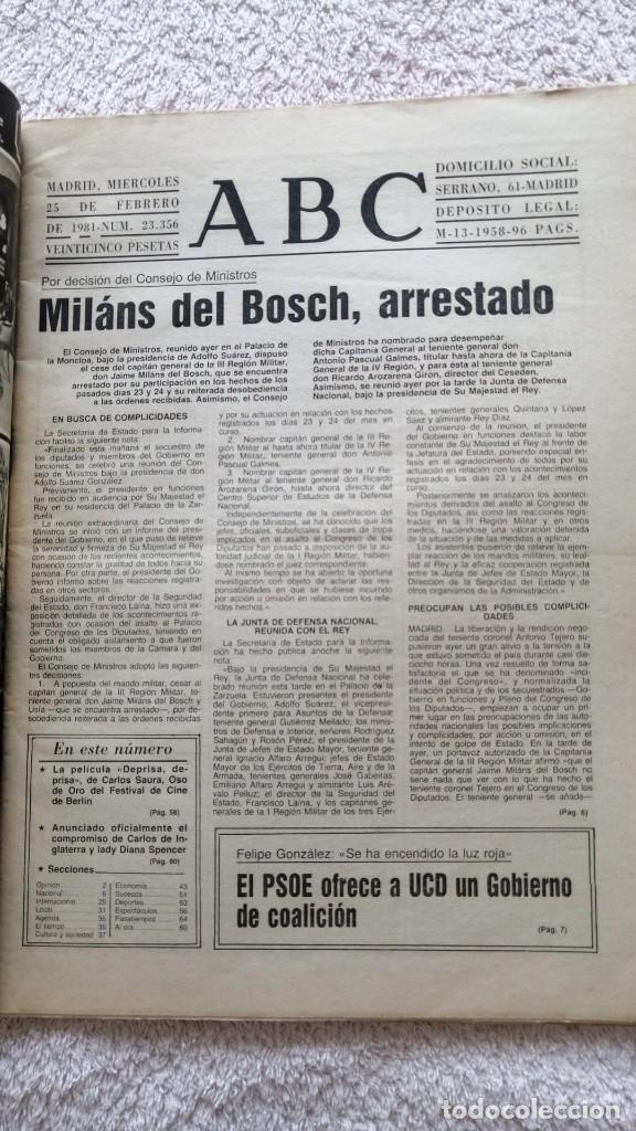 Coleccionismo de Los Domingos de ABC: ABC MADRID 25 FEBRERO 1981 EL FINAL DE LA PESADILLA GOLPE DE ESTADO TEJERO - Foto 3 - 252508915