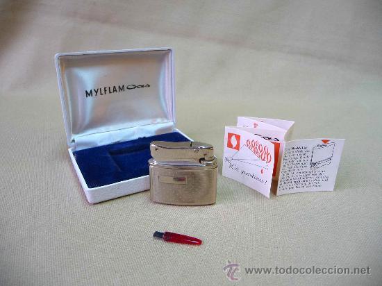 MECHERO, MYLFLAM, A GAS, COMPLETO, EN SU CAJA, 1960 S (Coleccionismo - Objetos para Fumar - Mecheros)