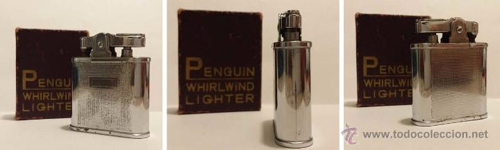 Mecheros: PENGUIN WHIRLWIND LIGHTER-MECHERO DE GASOLINA EN METAL CROMADO CON ESTUCHE - Foto 2 - 50852340
