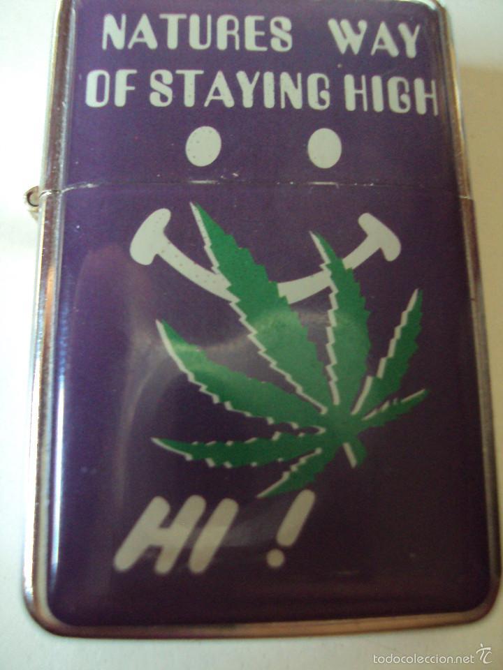 ENCENDEDOR MECHERO CON HOJA DE MARIHUANA NATURE'S WAY OF STAYING HIGH (Coleccionismo - Objetos para Fumar - Mecheros)