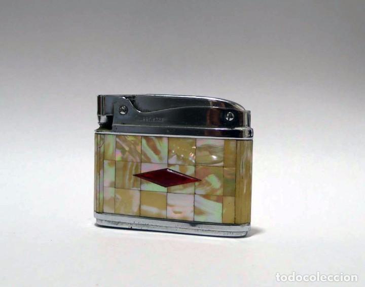 Mecheros: Mechero de gasolina metal cromado y forrado de nácar Queenstar - Foto 2 - 88089212