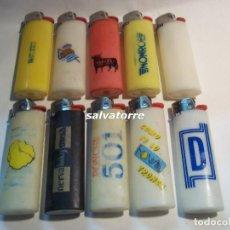 Mecheros: 11 MECHEROS BIC. REGULABLES.MADE IN SPAIN.USADOS.SIN PIEDRA NI GAS.MECHERO. Lote 91667800