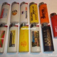 Mecheros: 11 MECHEROS BIC. REGULABLES.MADE IN SPAIN.USADOS.SIN PIEDRA NI GAS.MECHERO. Lote 91667900