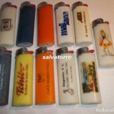 Mecheros: 11 MECHEROS BIC. REGULABLES.MADE IN SPAIN.USADOS.SIN PIEDRA NI GAS.MECHERO. Lote 91667925
