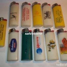 Mecheros: 11 MECHEROS BIC. REGULABLES.MADE IN SPAIN.USADOS.SIN PIEDRA NI GAS.MECHERO. Lote 91667980