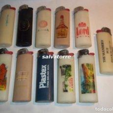 Mecheros: 11 MECHEROS BIC. REGULABLES.MADE IN SPAIN.USADOS.SIN PIEDRA NI GAS.MECHERO. Lote 91668030