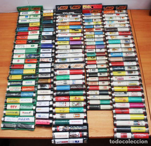 LOTE 226 MECHEROS CASI TODOS BIC, MINI BIC Y ZOR,TABACO,PUBLICIDAD,FUTBOL,SE INCLUYEN EXPOSITORES (Coleccionismo - Objetos para Fumar - Mecheros)