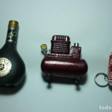 Mecheros: LOTE TRES MECHEROS VARIADOS. COGNAC, COCA COLA COMPRESOR PUMP LIGHTER. RAROS. IDEAL COLECCIONISTAS. Lote 99231963
