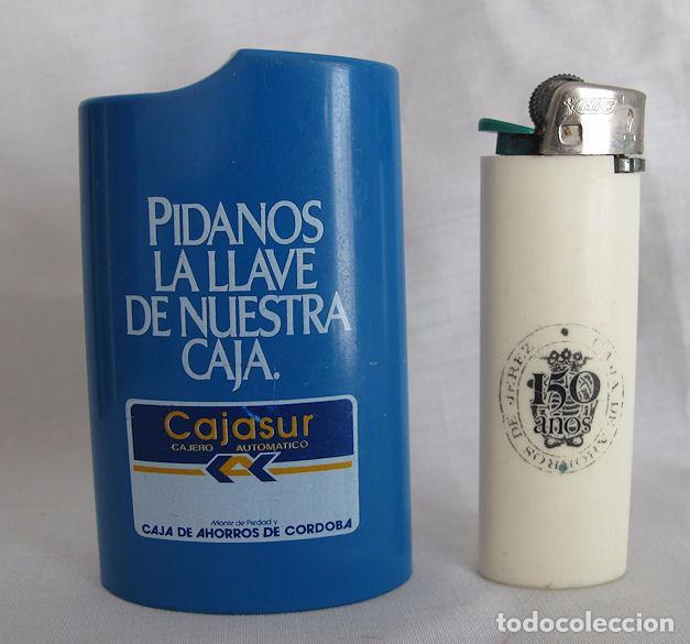 MECHERO BIC CON TABLE CAJASUR CAJA DE AHORROS DE JEREZ (Coleccionismo - Objetos para Fumar - Mecheros)