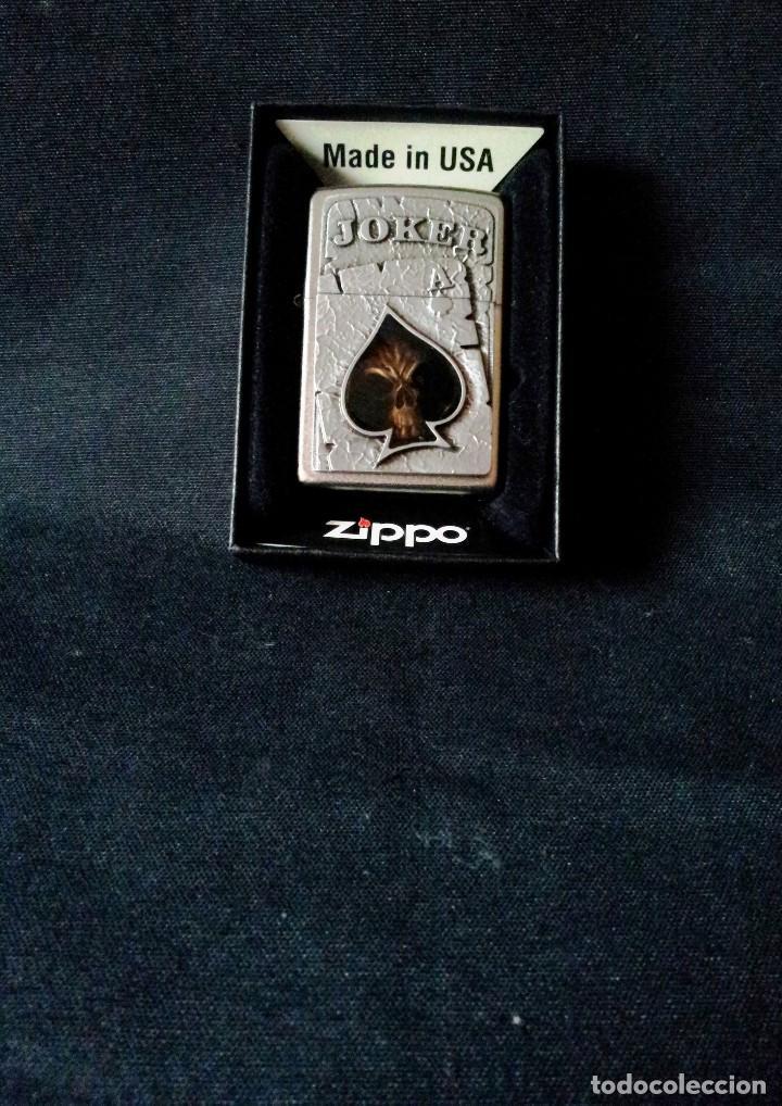 MECHERO ZIPPO ORIGINAL - JOKER - CROMADO, ACABADO SATINADO - MADE IN USA (BRADFORD) (Coleccionismo - Objetos para Fumar - Mecheros)