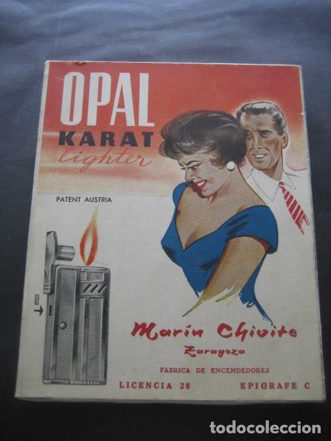ANTIGUA CAJA CARTON MECHEROS OPAL KARAT. FABRICA ENCENDEDORES MARIN CHIVITE ZARAGOZA (Coleccionismo - Objetos para Fumar - Mecheros)