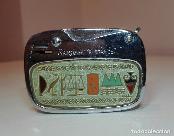 ANTIGUO ENCENDEDOR MECHERO DE GASOLINA SAROME ELEGANCE CON ESCENA EGIPCIA (Coleccionismo - Objetos para Fumar - Mecheros)