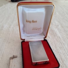 Mecheros: ENCENDEDOR MECHERO PLATA KING FLAM MYON CREATION PARIS EN CAJA ORIGINAL. Lote 146516906