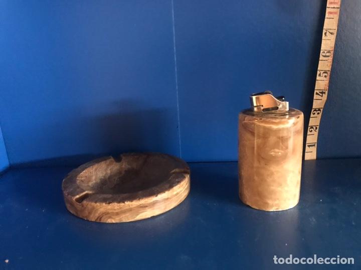 CONJUNTO MECHERO Y CENICERO ALABASTRO (Coleccionismo - Objetos para Fumar - Mecheros)