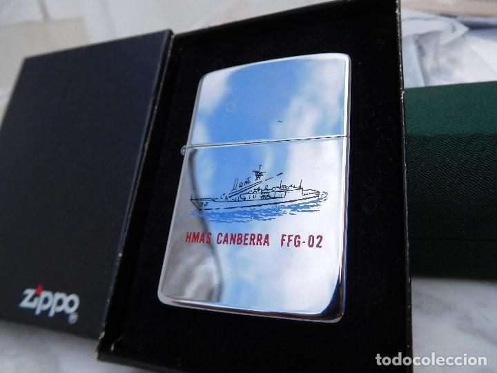 ZIPPO HMAS CANBERRA FFG 02 AÑO 1988 CON CAJA ORIGINAL E INSTRUCCIONES (Coleccionismo - Objetos para Fumar - Mecheros)