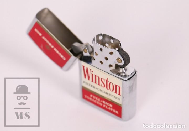 Mecheros: Mechero Publicitario Tipo Zippo - Cigarrillos Winston / Tabaco - Medidas 4 x 1 x 5,5 cm - Foto 2 - 168809836