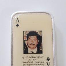 Mecheros: ABTIGUO MECHERO CARTA POKER / SADDAM HUSAYN / FUNCIONA. Lote 170093278