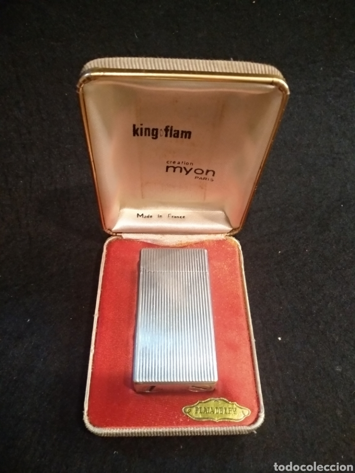 ENCENDEDOR MECHERO KING FLAM DE PLATA, CREATION MYON PARIS (Coleccionismo - Objetos para Fumar - Mecheros)