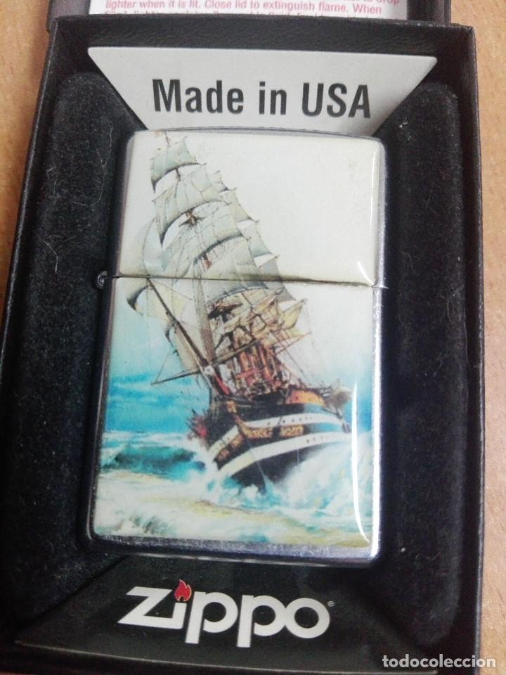 MECHERO ZIPPO ORIGINAL BRADFORD USA. BARCO VELERO. (Coleccionismo - Objetos para Fumar - Mecheros)