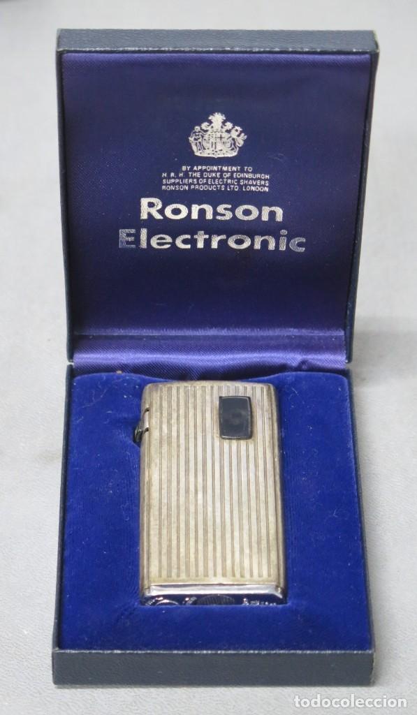 MECHERO RONSON DE PLATA. ELECTRONIC (Coleccionismo - Objetos para Fumar - Mecheros)