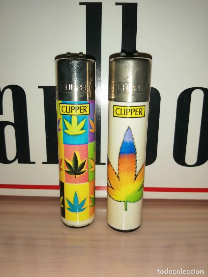 LOTE 2 CLIPPER HOJA MARIHUANA (Coleccionismo - Objetos para Fumar - Mecheros)