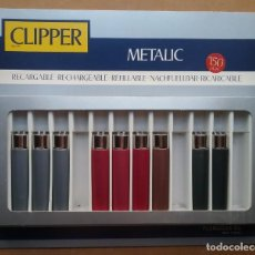 Mecheros: CLIPPER METALIC REGULABLE ENCENDEDOR LOTE 9 FLAMAGAS CAJA DISPLAY PUBLICIDAD. Lote 195331543