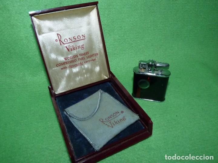 ELEGANTE ENCENDEDOR RONSON VIKING MECHERO VINTAGE AÑOS 50 CAJA FUNDA ORIGINAL COLECCIÓN (Coleccionismo - Objetos para Fumar - Mecheros)