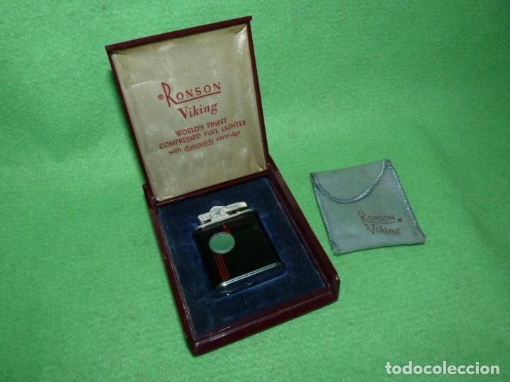 Mecheros: Elegante encendedor RONSON VIKING mechero vintage años 50 caja funda original colección - Foto 3 - 214577935
