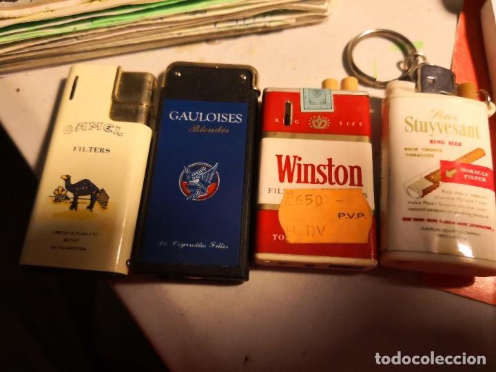 4 ENCENDEDORES MECHEROS VINTAGE PUBLICIDAD MARCAS DE CIGARRILLOS SIN GAS (Coleccionismo - Objetos para Fumar - Mecheros)