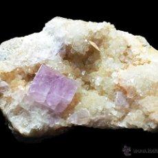 Coleccionismo de minerales: *** FANTÁSTICO CUBO DE FLUORITA SOBRE CALCITA. MINA BERBES (ASTURIAS) ***. Lote 51189700