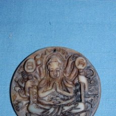 Coleccionismo de minerales: COLGANTE AMULETO EN JADE BUDA MEDITANDO DE 5 CM DIAMETRO. Lote 57232593