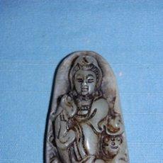 Coleccionismo de minerales: COLGANTE AMULETO EN JADE BUDA MEDITANDO DE 6 CM DIAMETRO. Lote 57363584