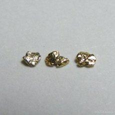 Coleccionismo de minerales: FD MINERALES: LOTE DE 3 PEPITAS DE ORO NATIVO - PORCUPINE CREEK - ALASKA - ORO 112. Lote 58244650